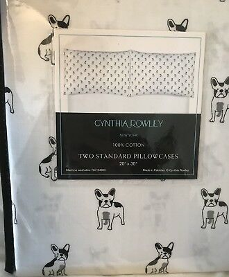 Cynthia Rowley Pillowcase Set of 2 Boston Terrier Dogs Hard To Find Standard Set