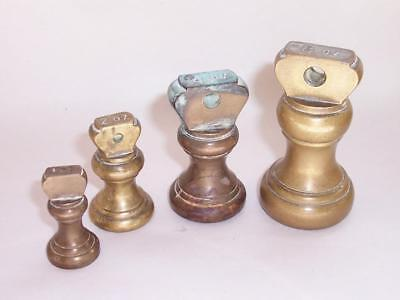 Antique/Vintage BRASS Bell SCALE WEIGHTS 8oz, 4oz, 2oz And 1oz