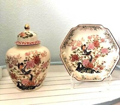 Japanese Vase with matching plate, sold together, Satsuma Seizan Gama-LOVELY !
