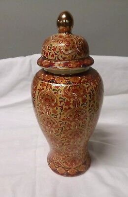 Hand painted urn style chinese vase with lid