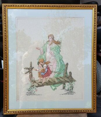 "CUSTOM FRAMED ""Guardian Angel"" FINISHED Cross Stitch, Double Matted"