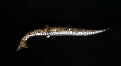 Old Indo-Persian Mughal Dagger - Silver alloy Application on Steel Fish Handle