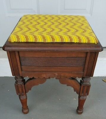 Antique Victorian Aesthetic Wood Stool with Lift Top