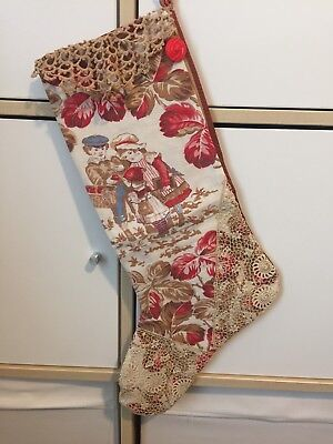 "Antique Christmas Stocking Handmade From Vintage Feed Sack ""Autumn Leaves"" Red"