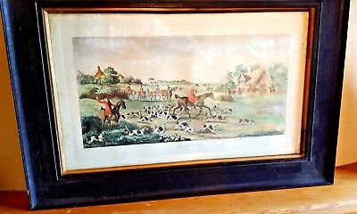 Antique Vintage Hand Coloured Hunting Engraving in Original Victorian Frame