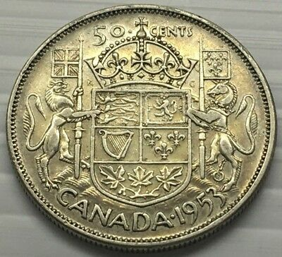 Very Nice 1953 Canada 50 Cent Silver Coin * Free U.s. Shipping