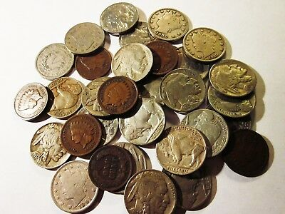 *Old U.S. Coin Estate Lot*Buffalo V Nickels+ Indian Head Penny Cent *Iconic* Set