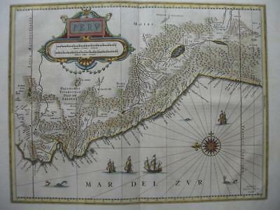 c1640 - BLAEU - Map PERU Latin edition