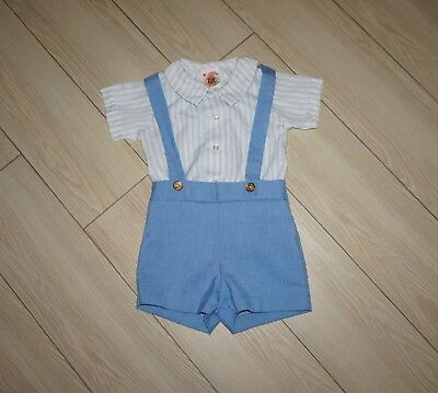 Baby Boys VTG WINNIE THE POOH Two Pc Outfit Shirt Suspender Shorts Striped 18M