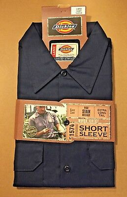 Dickies Mens Size Large Short Sleeve Button Up Casual Work Shirt 1574 Navy