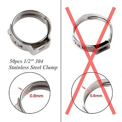 "50PCS 1/2"" Stainless Ear PEX Clamp Cinch Ring Hose Crimp Pinch Fitting PEX 304"