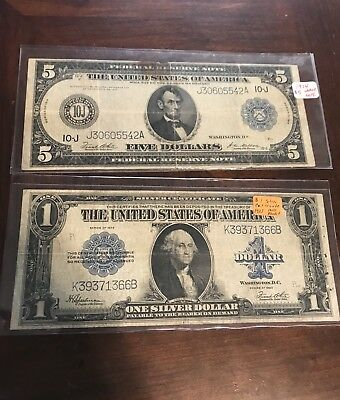 LOT OF 2 RARE OLD US LARGE CURRENCY NOTES - $1 1923 Horse Blanket - $5 1914