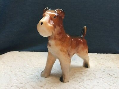 Vintage Wire Hair Fox Terrier Porcelain Dog Figurine