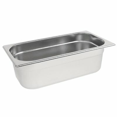 Vogue Stainless Steel 1/3 Size Gastronorm Pan Bain Marie Pot Choose Depth