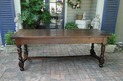 Antique French Country Farm Dining Table ~ Authentic Provence Drawer Patina Old
