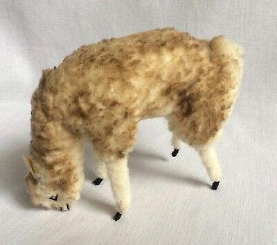 "Real Alpaca Fur Plush Llama Vicuna Bending Down Eating Toy 5"" Made in Peru"