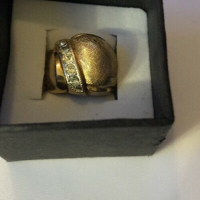 Stunning Ring Size 4 Gold Filled Wide Band Vintage Estate Jewelry