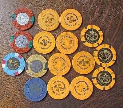 Large Lot Carson Nugget Casino Chips, Carson City NV $1, $5, $2.50