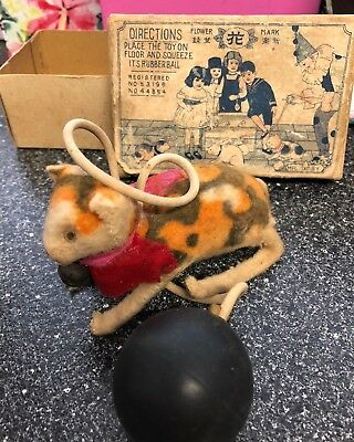 ANTIQUE TOY CAT Squeeze rubber ball bell original box made in Tokyo Japan rare