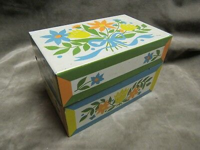 1970's Syndicate Mfg Co Pennsylvania Dutch floral Design Recipe File Box Metal