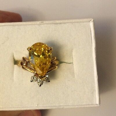 Stunning Ring Size 4 Gold Plated Yellow Stone Vintage To Modern  Estate Jewelry