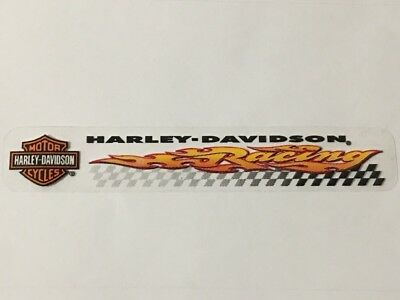 "Harley Davidson B&S Flaming Racing Checkers Decal Sticker 6"" X 1"" (Inside) Nos"