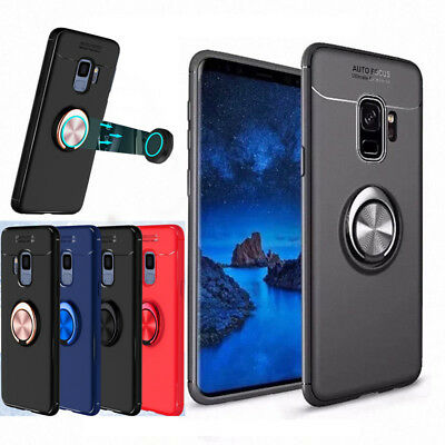 Galaxy S9 S10 Plus S10e Magnetic Shockproof TPU Case Cover with Ring Car Holder