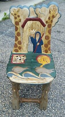 NOAH'S ARK CHILD'S Wooden Chair Sunday School Bible Story Hand Painted Carv  Wood