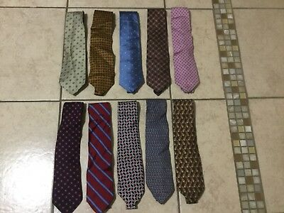 """Lot Of 10 Classic Men""""S Ties By Brook Broters 100% Silk. Made In Usa."""