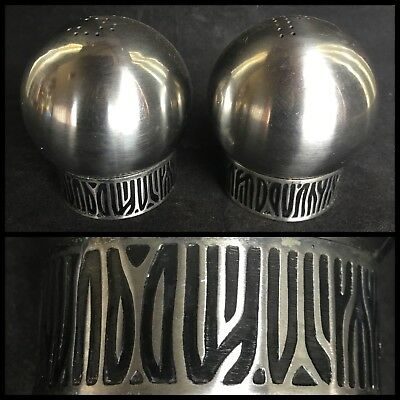 VINTAGE Stainless Steel GROSVENOR GODDESS Modernist SALT & PEPPER SHAKERS Japan