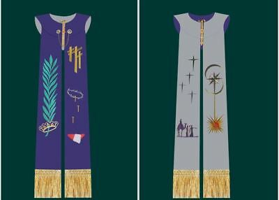 1pc Stole Chasuble  Vestments Priest Purple White Reversible Embroidery Stole