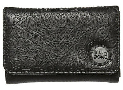 Billabong Ladies Womens Black Wallet New Moonstruck Pu Tags Teen Trifold Girls