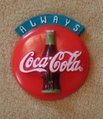 """Always"" Coca-Cola refrigerator magnet, 1995, 3"" x 2.5"", red w/ classic bottle"
