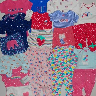 HUGE PREEMIE CARTER'S BABY GIRL CLOTHES LOT NEW Infant Outfit Sets Layette Doll