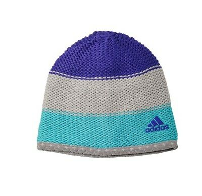 BNWOT ADIDAS climaheat acrylic knit beanie in grey, aqua, purple. OSFM.