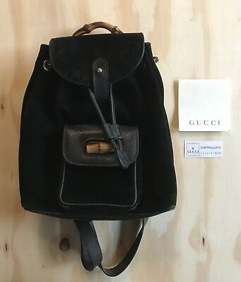 VINTAGE GUCCI BAMBOO Mini Backpack Bag Black Suede leather -  213.59 ... 18cffdf5ae
