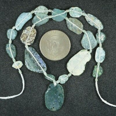Ancient Roman Glass Beads 1 Medium Strand Aqua And Green 100 -200 Bc 901