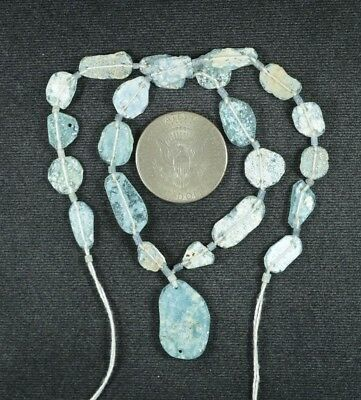 Ancient Roman Glass Beads 1 Medium Strand Aqua And Green 100 -200 Bc 903