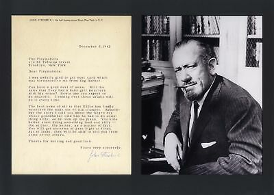 NOBEL PRIZE LITERATURE John Steinbeck autograph, typed letter signed & mounted
