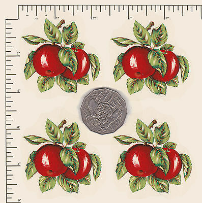 """4 x Waterslide ceramic decals Decoupage Fruits Red Apples  2"""" x 2"""" PD958"""