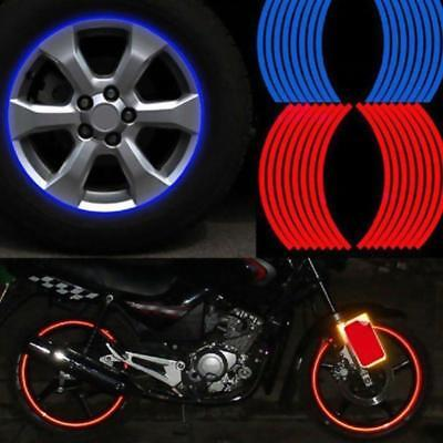 16 Strips Lots Reflective Motorcycle Car Rim Stripe Wheel Decals Tape-Stickers