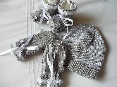 Baby Beanie, Booties & Mittens, Boy/Girl, Extra Soft Grey/White. Hand-knitted