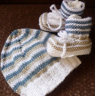 Beanie & Booties Set, Boy Or Girl Baby, Hand-Knitted By Me. Soft!