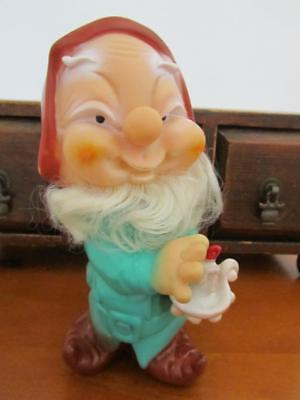 Vintage GNOME Dwarf Plastic Figurine Toy With Candlestick