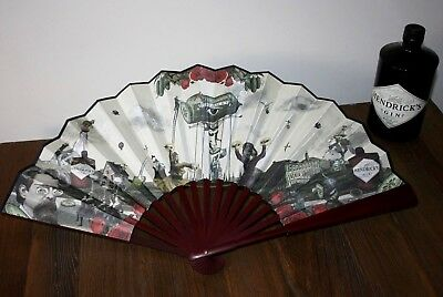 Hendricks Gin Rare Large Folding Wooden Fan Alcohol Collectable Bar Drinks