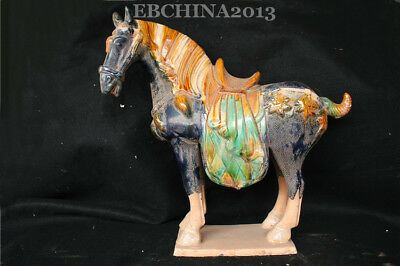 "16"" Collect Old China Ancient Porcelain Pottery Tang Sancai Horse Sculpture"