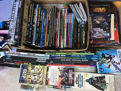 Large Collection of Star Wars Books Vintage to Modern x100 Annuals Pop Ups Etc