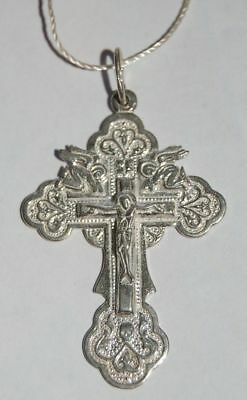Russian Orthodox silver cross with Angels