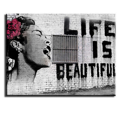 Canvas Wall Art for Bedroom, Life is Beautiful Canvas Prints Oil Paintings Decor