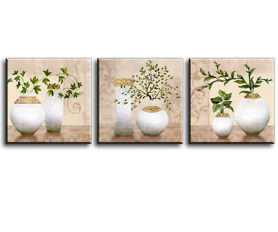 3 Piece Wall Art Elegant Canvas Oil Painting Prints of Green Spring Plants Vases